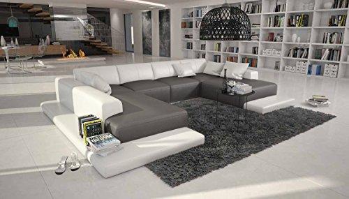 riesige wohn landschaft mit kunstleder 365 270 cm u form grau wei nilassi designer sofa. Black Bedroom Furniture Sets. Home Design Ideas