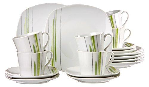 Ritzenhoff & Breker 083026 Kaffeeservice Pintura, 18-teilig, Porzellangeschirr, weiß/grün
