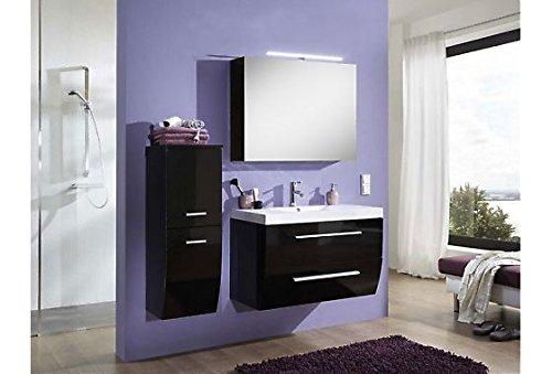 SAM® Badmöbel-Set Salzburg Deluxe in hochglanz schwarz, 90 cm, Badezimmer bestehend aus 1 x Waschplatz, 1 x Hochschrank, 1 x Spiegelschrank Deluxe (Auswahlmöglichkeit: Spiegel oder Spiegelschrank)