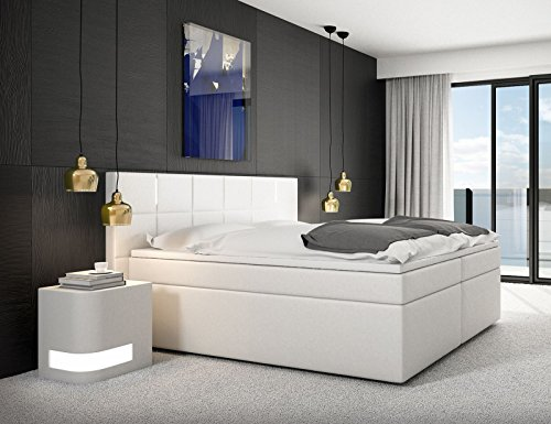 sam design boxspringbett salerno led mit samolux bezug in wei led beleuchtung bonellfederkern 7. Black Bedroom Furniture Sets. Home Design Ideas