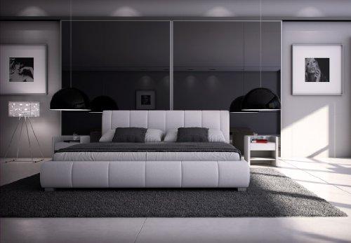 SAM® Polsterbett Innocent Designbett Lumo, 160 x 200 cm in weiß, Kopfteil im modernen abgesteppten Design, Bettgestell auch als Wasserbett geeignet