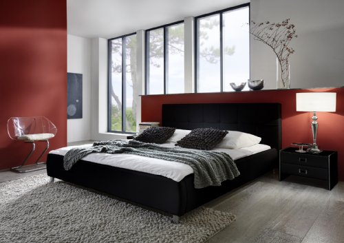 SAM® Polsterbett Zarah schwarz 180 x 200 cm, Bett mit chrom-farbenen Füßen, modernes Design, Kopfteil abgesteppt, als Wasserbett verwendbar