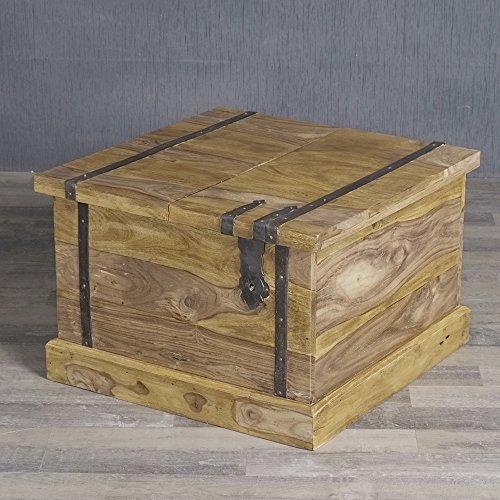 Sheesham Massivholz Couchtisch Palisander Truhe 60x60x40cm Bright-E Beistelltisch Tisch
