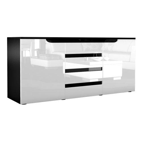 sideboard kommode sylt korpus in schwarz matt front in. Black Bedroom Furniture Sets. Home Design Ideas