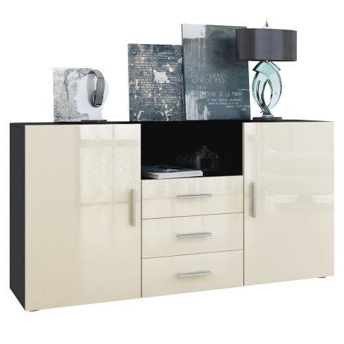 sideboard skadu in schwarz creme hochglanz m bel24. Black Bedroom Furniture Sets. Home Design Ideas