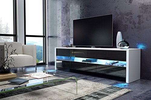 tv schrank lowboard sideboard sky wei matt schwarz hochglanz mit led m bel24. Black Bedroom Furniture Sets. Home Design Ideas