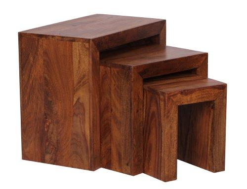 WOHNLING 3er Set Satztisch Massivholz Sheesham Wohnzimmer-Tisch Landhaus-Stil Beistelltisch dunkel-braun Naturholz Couchtisch Natur-Produkt Wohnzimmermöbel Unikat Massivholzmöbel Anstelltisch Echtholz
