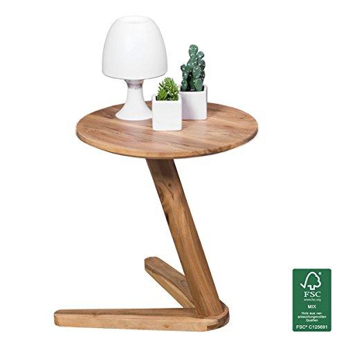 WOHNLING Beistelltisch Massiv-Holz Akazie Design Wohnzimmer-Tisch 45 x 45 cm rund Couchtisch Natur-Holz dunkel-braun Nachttisch Landhaus-Stil Nachtkommode Untergestell V-Form Telefontisch 50cm hoch