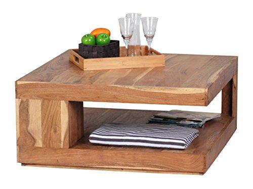 WOHNLING Couchtisch Massiv-Holz Akazie 90 cm breit Wohnzimmer-Tisch Design dunkel-braun Landhaus-Stil Beistelltisch Natur-Produkt Wohnzimmermöbel Unikat modern Massivholzmöbel Echtholz rechteckig