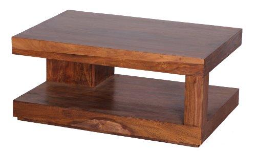WOHNLING Couchtisch Massiv-Holz Sheesham 90 cm breit Wohnzimmer-Tisch Design dunkel-braun Landhaus-Stil Beistelltisch Natur-Produkt Wohnzimmermöbel Unikat modern Massivholzmöbel Echtholz rechteckig