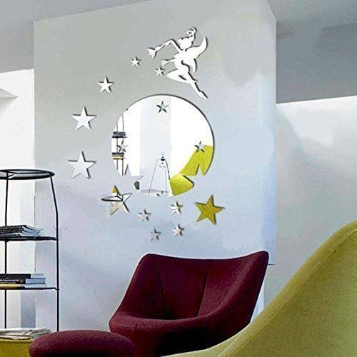 """Walplus Wandspiegel """"Fliegende Fee Tinker Bell"""", mit Sterne-Motiv, rund"""