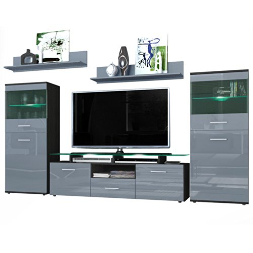 wohnwand almada korpus in schwarz matt front in grau hochglanz m bel24. Black Bedroom Furniture Sets. Home Design Ideas