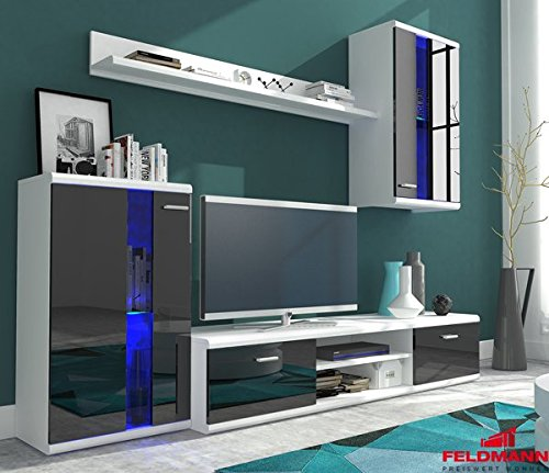 wohnwand anbauwand 4 teilig 6406 wei schwarz hochglanz inkl led beleuchtung m bel24. Black Bedroom Furniture Sets. Home Design Ideas