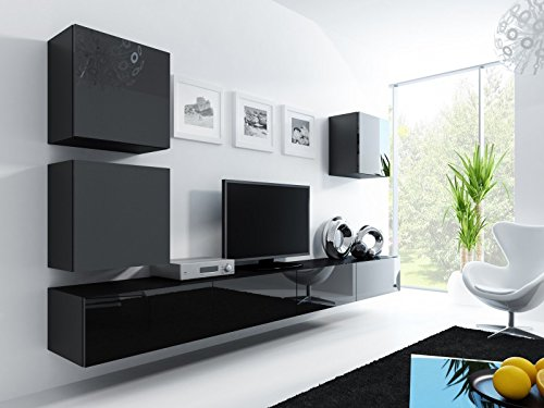 wohnwand vigo 22 hochglanz h ngeschrank lowboard cube farbe schwarz matt schwarz. Black Bedroom Furniture Sets. Home Design Ideas