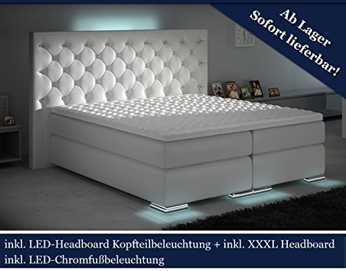 XXXL Boxspringbett Designer Boxspring Bett LED Chesterfield (Weiß, 200x200)
