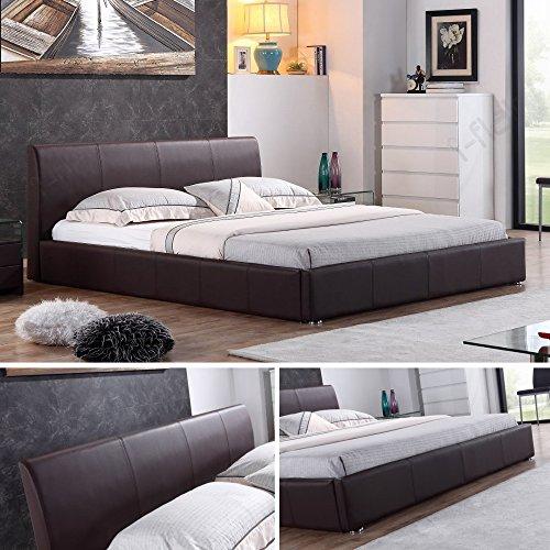 i-flair® - Designer Polsterbett, MONACO Bett 140x200 cm braun - alle Farben & Größen