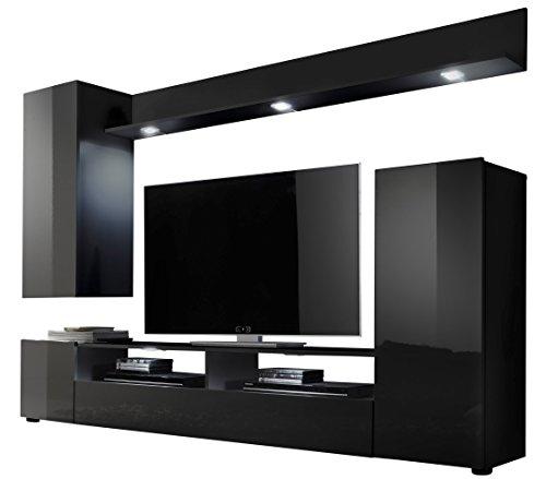 Trendteam ds94532 wohnwand wohnzimmerschrank schwarz hochglanz bxhxt 208x165x33 cm m bel24 - Wohnzimmerschrank hochglanz ...