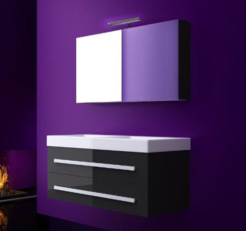 badm bel komplettset atlantis hochglanz lackiert 120 cm doppelwaschbecken schwarz m bel24. Black Bedroom Furniture Sets. Home Design Ideas