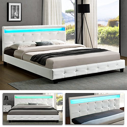 denver doppelbett led polsterbett bettgestell bett lattenrost kunstleder 160 x 200cm weiss. Black Bedroom Furniture Sets. Home Design Ideas