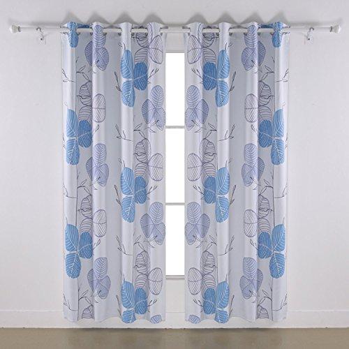 Deconovo Verdunklungsvorhang Klee Motiv, Stoffdruck, 175x140 und 245x140, 2er set