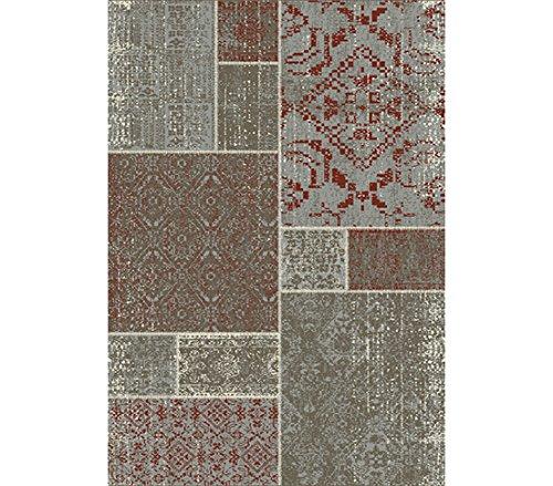 Dehner Outdoor Teppich Vintage, ca. 200 x 140 cm, Polypropylen, grau/braun/rot