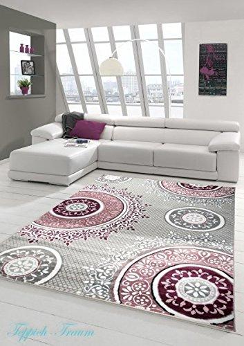 Designer Teppich Moderner Teppich Wohnzimmer Teppich Klassisch gemustert Kreis Ornamente in Pink Lila Grau Creme
