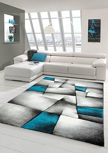 Designer Teppich Moderner Teppich Wohnzimmer Teppich Kurzflor Teppich mit Konturenschnitt Karo Muster Türkis Grau Weiß Schwarz