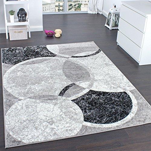 Designer Teppich Wohnzimmer Teppich Kreis Muster in Grau Creme Preishammer