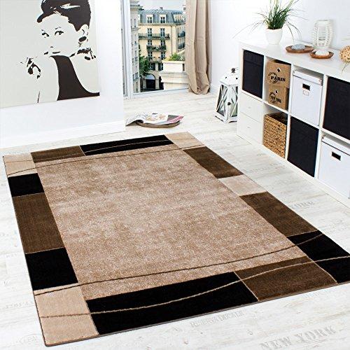 Designer Teppich Wohnzimmer Teppich Modern Bordüre in Braun Beige Preishammer