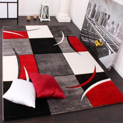 Designer Teppich mit Konturenschnitt Karo Muster Rot Schwarz