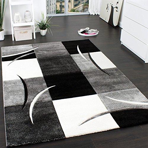 Designer Teppich mit Konturenschnitt Muster Kariert in Schwarz Weiss Grau