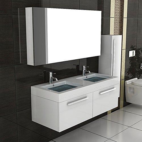doppel waschtisch badm bel set mit spiegelschrank weiss hochglanz unterschrank mit soft close. Black Bedroom Furniture Sets. Home Design Ideas