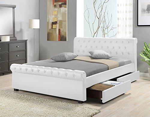 Doppelbett Polsterbett Bettgestell Bett Lattenrost Kunstleder (Weiß, 140x200cm)