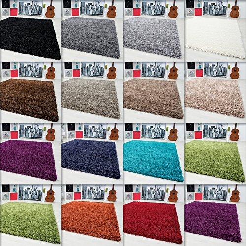 Hochflor Shaggy Teppich Langflor Carpet Wohnzimmer einfarbig Rechteck / Rund Teppiche