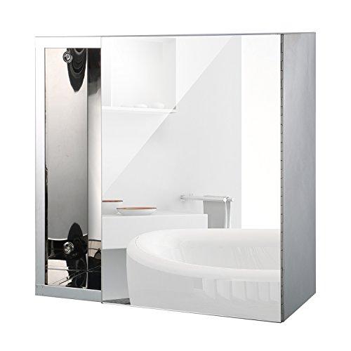Homcom led spiegelschrank lichtspiegel badspiegel badschrank badezimmerspiegel wandspiegel 15w - Beleuchtete badezimmerspiegel ...