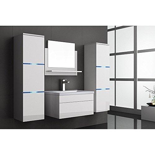home deluxe badm bel set cuxhaven wei hochglanz inkl waschbecken und komplettem zubeh r. Black Bedroom Furniture Sets. Home Design Ideas
