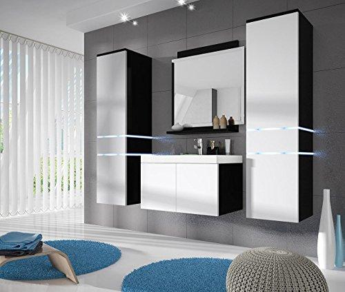 komplett badezimmer m bel set wei schwarz hochglanz badm bel schrank waschtisch waschplatz. Black Bedroom Furniture Sets. Home Design Ideas