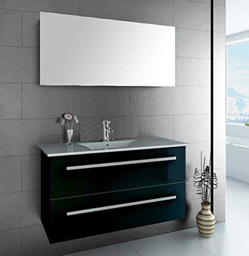 luxus4home design badm bel set serpia single schwarz hochglanz waschtisch 90cm inkl armatur. Black Bedroom Furniture Sets. Home Design Ideas