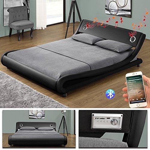 MEMPHIS Bluetooth Doppelbett Polsterbett Bettgestell Bett Lattenrost Kunstleder (140 x 200cm, Schwarz)