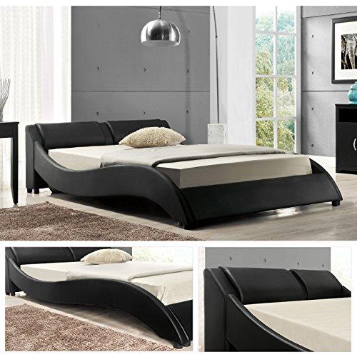 OSLO Doppelbett Polsterbett Bettgestell Bett Lattenrost Kunstlederbett (Schwarz, 140cm x 200cm)