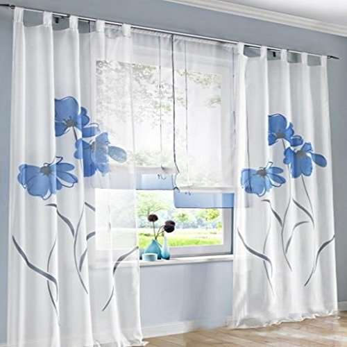Souarts Blau Stickerei Transparent Gardine Vorhang Schlaufenschal Deko f¨¹r Wohnzimmer Schlafzimmer Studierzimmer
