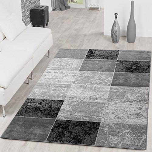 Teppich Preiswert Karo Design Modern Wohnzimmerteppich Grau Schwarz Top Preis