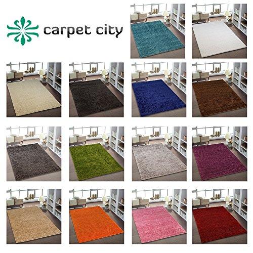 Teppich Shaggy Hochflor Einfarbig Wohnzimmer 15 Farben und Größen Rund Rechteckig Öko Tex