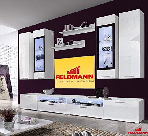 wohnwand 250928 anbauwand 8 teilig wei hochglanz. Black Bedroom Furniture Sets. Home Design Ideas