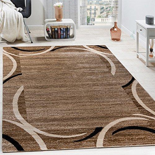 Wohnzimmer Teppich Bordüre Kurzflor Meliert Modern Hochwertig Grau Schwarz Braun