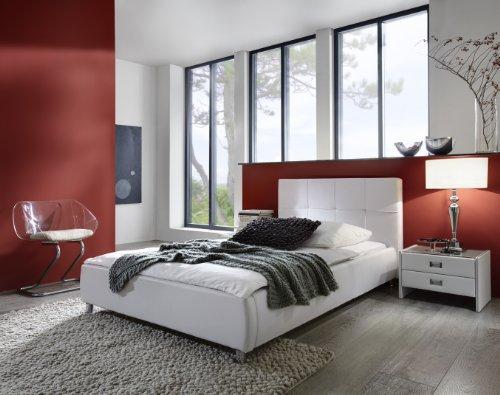 xxs zarah polsterbett 90 x 200 cm in edlem wei bett mit gepolstertem kopfteil und pflegeleichter. Black Bedroom Furniture Sets. Home Design Ideas