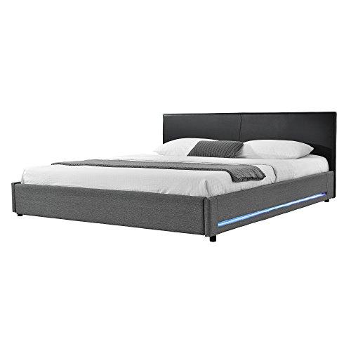 mybed elegantes led polsterbett 140x200cm kopfteil kunst leder schwarz fu und seitenteil textil. Black Bedroom Furniture Sets. Home Design Ideas