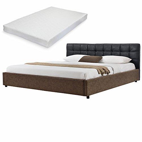 mybed elegantes polsterbett gesteppt mit kaltschaum matratze h2 180x200cm wild leder imitat. Black Bedroom Furniture Sets. Home Design Ideas
