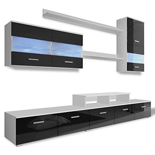 Vidaxl 7 tlg hochglanz wohnwand led schrankwand tv for Wohnwand 250 cm