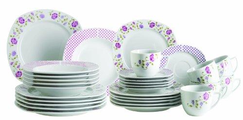 Domestic by Mäser, Serie Infashion, Kombiservice 30-teilig mit je 6 Tassen, Untertassen, Desserteller, Teller tief und flach, bunte Blumenornamente kombiniert auf einer leicht eckigen Form